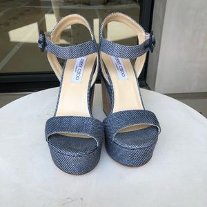 Jimmy Choo Denim Wedge Ankle Strap